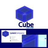 Логотип куба с шаблоном визитной карточки, вектором Стоковая Фотография RF