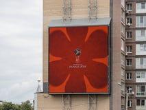 Логотип кубка мира 2018 в экране внешней рекламы в Nizhny Novgorod Стоковые Фото