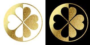 Логотип клевера в золотом Стоковое Изображение