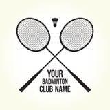 Логотип клуба силуэта вектора ракеток бадминтона Стоковое Изображение RF