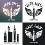 Логотип магазина Vape Значки e-сигарета и аксессуары Стоковые Изображения