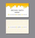 Логотип меда пчелы и шаблон визитной карточки Стоковые Фото