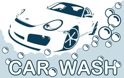 Логотип мойки - чистый автомобиль Конспект выравнивает логотип также вектор иллюстрации притяжки corel Стоковые Фото