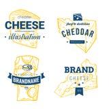 Логотип молочных продучтов вектора сыра нарисованный рукой Детальная ретро иллюстрация стиля Стоковое Изображение