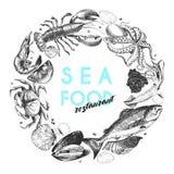 Логотип морепродуктов вектора нарисованный рукой Омар, семга, краб, креветка, ocotpus, кальмар, clams Выгравированное искусство Стоковое Фото
