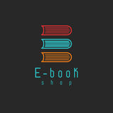 Логотип модель-макета EBook, образование интернета или значок учить, онлайн символ книги Стоковые Фотографии RF