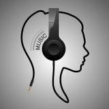 Логотип музыки головной Стоковое Изображение
