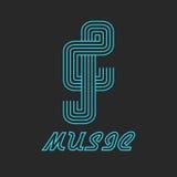 Логотип музыки ключевой неоновой линии, музыкального голубого значка Стоковая Фотография RF
