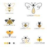 Логотип насекомого пчелы меда - вектор Стоковое Изображение