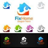 Логотип недвижимости, дизайн логотипа вектора починки домашний соответствующий для архитектуры, разнорабочего, bricolage, Diy, и  Стоковое Изображение RF