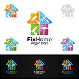Логотип недвижимости, дизайн логотипа вектора починки домашний соответствующий для архитектуры, разнорабочего, bricolage, Diy, и  Стоковая Фотография RF