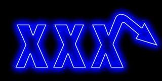 Логотип неона XXX для людей с эректильной дисфункцией Стоковые Фотографии RF