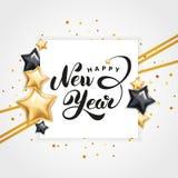Логотип Нового Года звезды золота счастливый иллюстрация штока