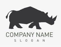 Логотип носорога на белой предпосылке Стоковые Изображения