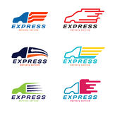 Логотип обслуживания срочной поставки автомобиля тележки Дизайн вектора установленный Стоковые Изображения