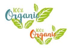 логотип 100% органический установил в другие цвета с травяными листьями бесплатная иллюстрация