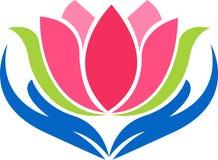 Логотип лотоса руки иллюстрация вектора