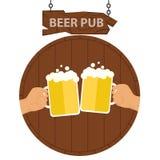 Логотип паба пива, знамени паба пива 2 руки с кружками пива на предпосылке бочонка пива бесплатная иллюстрация