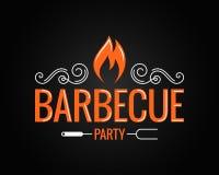Логотип партии барбекю винтажный на черной предпосылке Стоковое Изображение