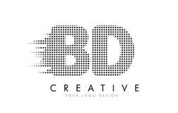 Логотип письма BD b d с черными точками и следами Стоковые Фото
