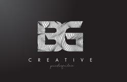 Логотип письма BG b g с линиями вектором зебры дизайна текстуры Стоковое Изображение