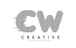 Логотип письма CW c w с черными точками и следами Стоковая Фотография