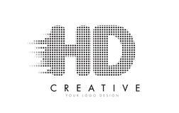 Логотип письма HD h d с черными точками и следами Стоковая Фотография