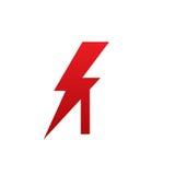 Логотип письма i красного болта вектора электрический Стоковые Изображения