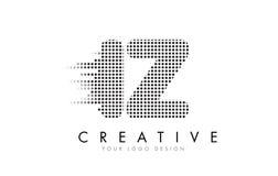 Логотип письма IZ i z с черными точками и следами Стоковые Изображения