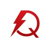 Логотип письма q красного болта вектора электрический Стоковое фото RF