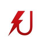 Логотип письма u красного болта вектора электрический Стоковое Изображение RF