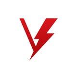 Логотип письма v красного болта вектора электрический Стоковое Изображение RF