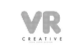 Логотип письма VR v r с черными точками и следами Стоковые Фото