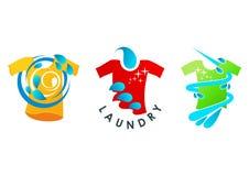 Логотип прачечной, чистый символ, дизайн концепции обслуживания Стоковые Фото