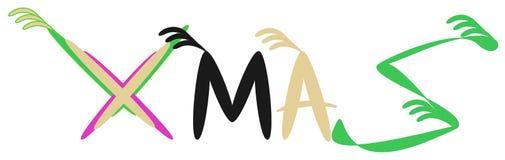 Логотип произношения по буквам стилизатора слова Xmas для нового продукта дела иллюстрация вектора