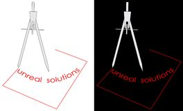 Логотип решений компаса и квадрата нереальный Стоковые Фото