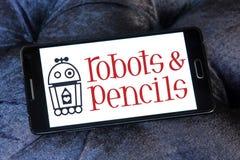 Логотип роботов и карандашей твердый Стоковые Изображения RF