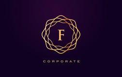 Логотип роскоши f Вектор дизайна письма вензеля Стоковые Изображения RF