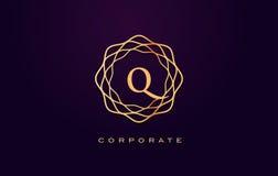 Логотип роскоши q Вектор дизайна письма вензеля Стоковые Фото