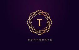 Логотип роскоши t Вектор дизайна письма вензеля Стоковое фото RF