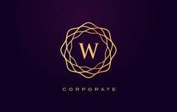 Логотип роскоши w Вектор дизайна письма вензеля Стоковое Изображение