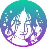 Логотип русалки подводный стоковое изображение rf