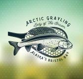 Логотип рыбной ловли мухы хариуса Дама реки Стоковая Фотография