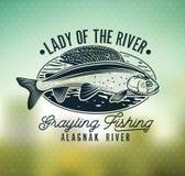 Логотип рыбной ловли мухы хариуса Дама реки Стоковое Фото