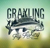 Логотип рыбной ловли мухы хариуса Дама реки Стоковые Изображения RF