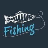 Логотип рыбной ловли изолированный на темной предпосылке Стоковое Фото