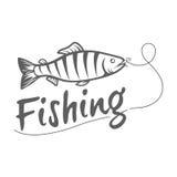 Логотип рыбной ловли изолированный на темной предпосылке Стоковые Фотографии RF
