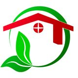Логотип - свойство с зеленой концепцией, на белой предпосылке иллюстрация вектора