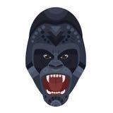 Логотип сердитой одичалой свирепой гориллы кричащий головной Эмблема вектора декоративная иллюстрация штока