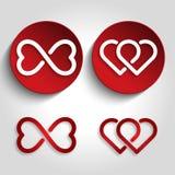 Логотип сердца безграничности установленный Стоковая Фотография RF